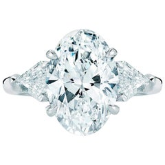 GIA Certified 2.50 Carat Oval Diamond Ring F Color
