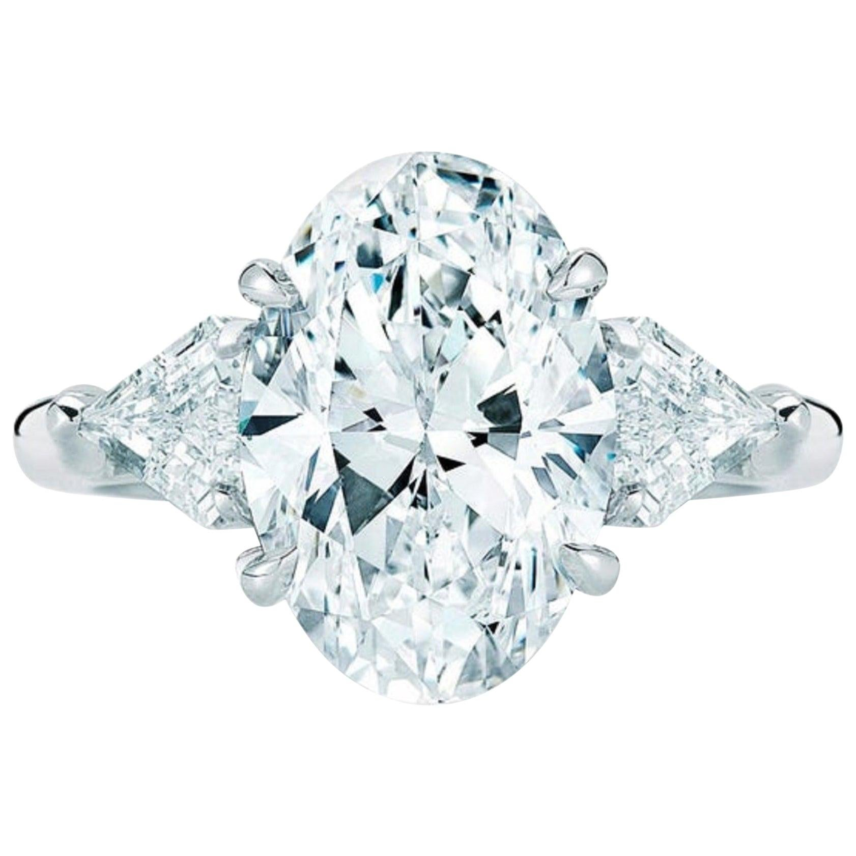 GIA Certified 2 Carat Oval Diamond Solitaire Engagement Platinum Ring