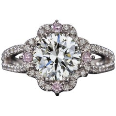 GIA Certified 2.50 Carat Round Brilliant Cut Pink and White Diamond Solitaire