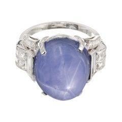 GIA Certified 25.00 Carat Natural Star Sapphire Diamond Art Deco Platinum Ring