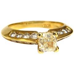 GIA Certified 2.51 Carat Fancy Yellow Cushion Cut Diamond Ring 18 Karat