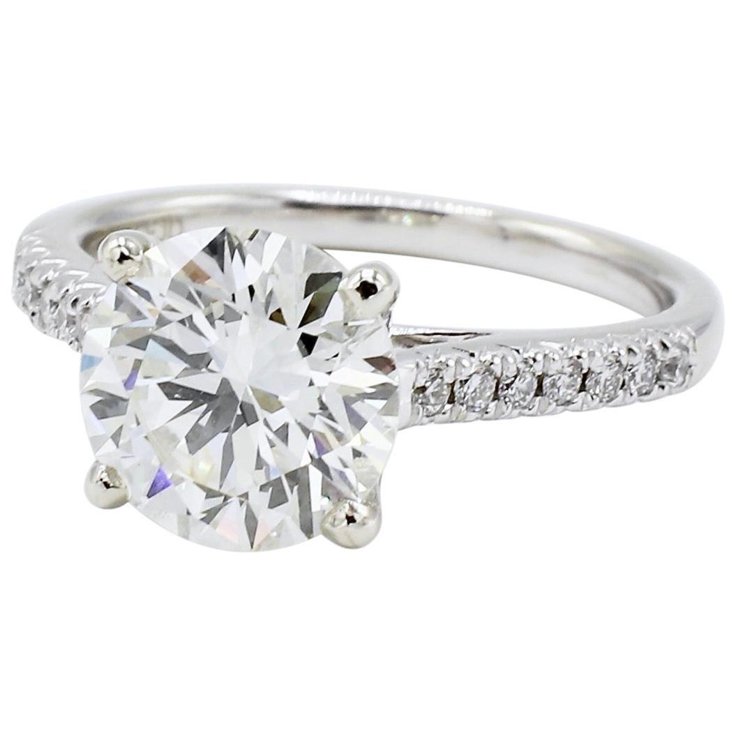 GIA Certified 2.51 Carat J VS2 Round Diamond Engagement Ring