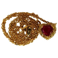 GIA Certified 2.51 Carat Natural Ruby Yellow Diamonds Necklace 18 Karat