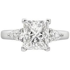 GIA Certified 2.51 Carat Princess Cut Diamond Three-Stone Engagement Ring