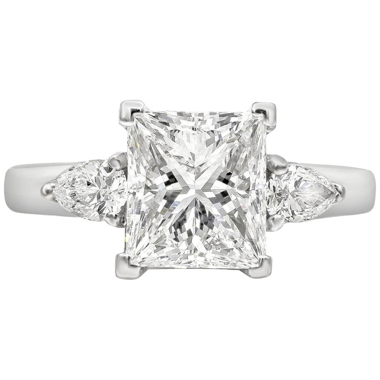 GIA Certified 2.51 Carat Princess Cut Diamond Three-Stone Engagement Ring For Sale