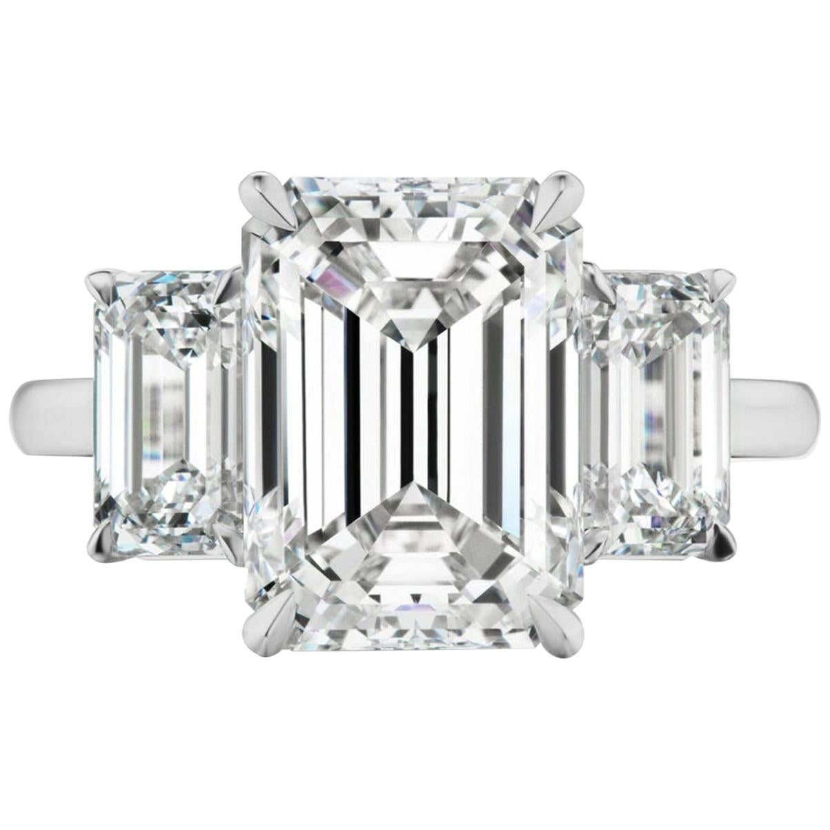GIA Certified 3 Carat Emerald Cut Diamond Engagement Platinum Ring