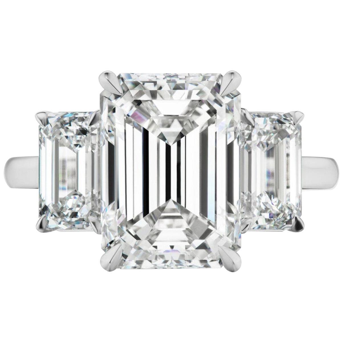 GIA Certified 3 Carat Emerald Cut Diamond Engagement Platinum Ring