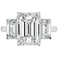 GIA Certified 3.70 Carat Internall Flawless Emerald Cut Diamond Engagement Ring