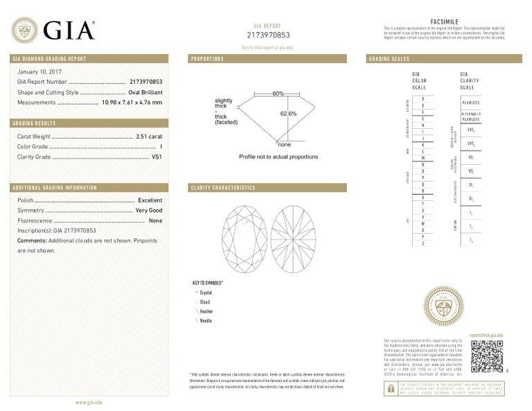 Women's or Men's GIA Certified 2.51 Carat Oval Diamond Engagement Ring