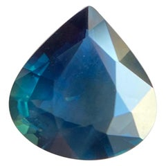 GIA Certified 2.51ct Untreated Blue Green Sapphire Pear Cut Unheated Rare Gem