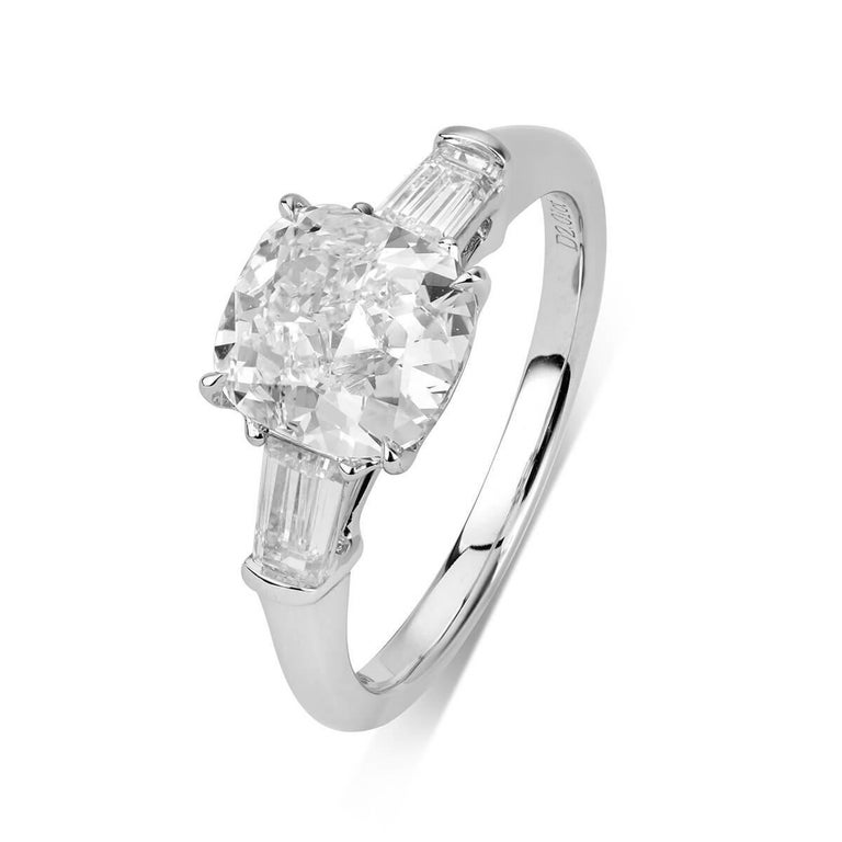 CUSHION CUT ENGAGEMENT RING - 2.52 CT   Set in 18K White gold   Total diamond weight: 2.01 ct   [ 1 diamond ]   Color: I   Clarity: VS2   Total side diamond weight: 0.51 ct   [ 2 diamonds ]   Color: G-H   Clarity: VS   Total ring weight: 3.85