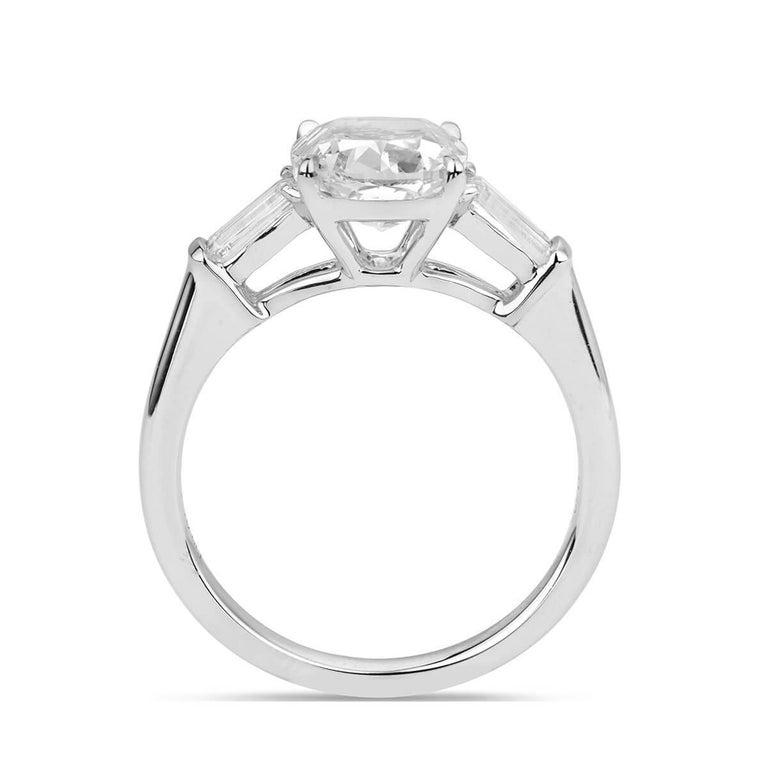 Modern GIA Certified 2.52 Carat Cushion Cut Engagement Ring For Sale