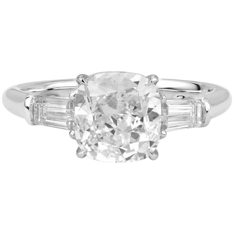 GIA Certified 2.52 Carat Cushion Cut Engagement Ring For Sale