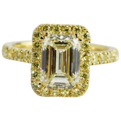 GIA Certified 2.52 Carat Emerald Cut Yellow Gold Diamond Engagement Ring