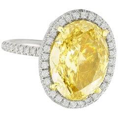 GIA Certified 2.50 Carat Fancy Intense Yellow Oval Diamond Ring