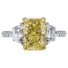 GIA Certified 2.52 Carat Fancy Yellow Radiant Cut Three-Stone Ring