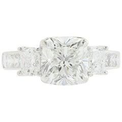 GIA Certified 2.53 Carat F VS2 Cushion Cut Three-Stone Diamond Engagement Ring
