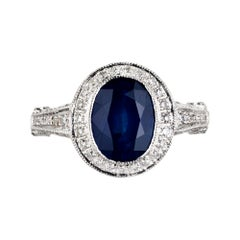GIA Certified 2.53 Carat Oval Cornflower Sapphire Diamond Halo Platinum Ring