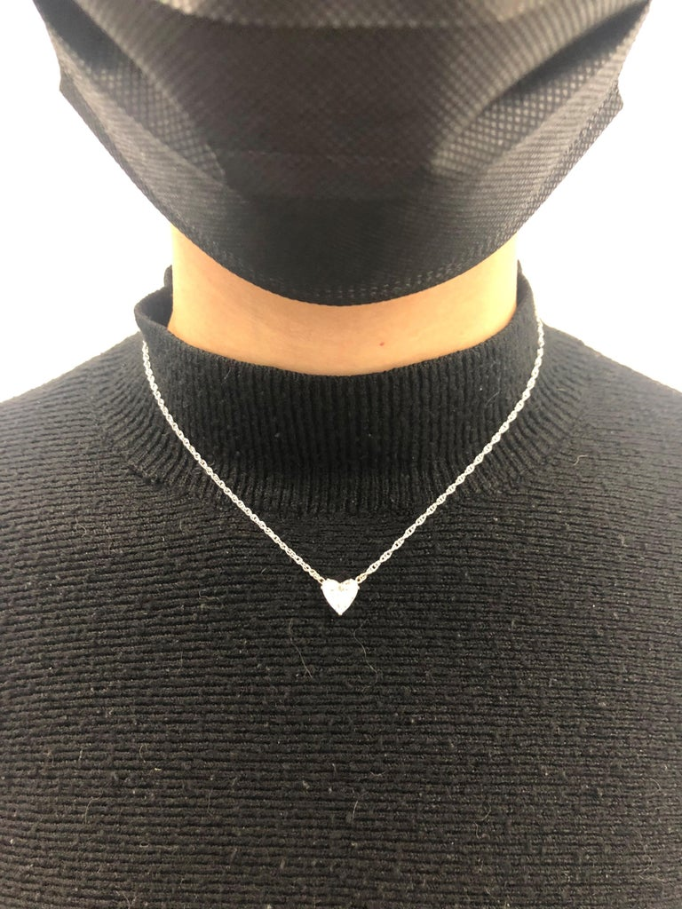 GIA Certified 2.54 Carat Diamond Heart Necklace in 18 Karat White Gold For Sale 4