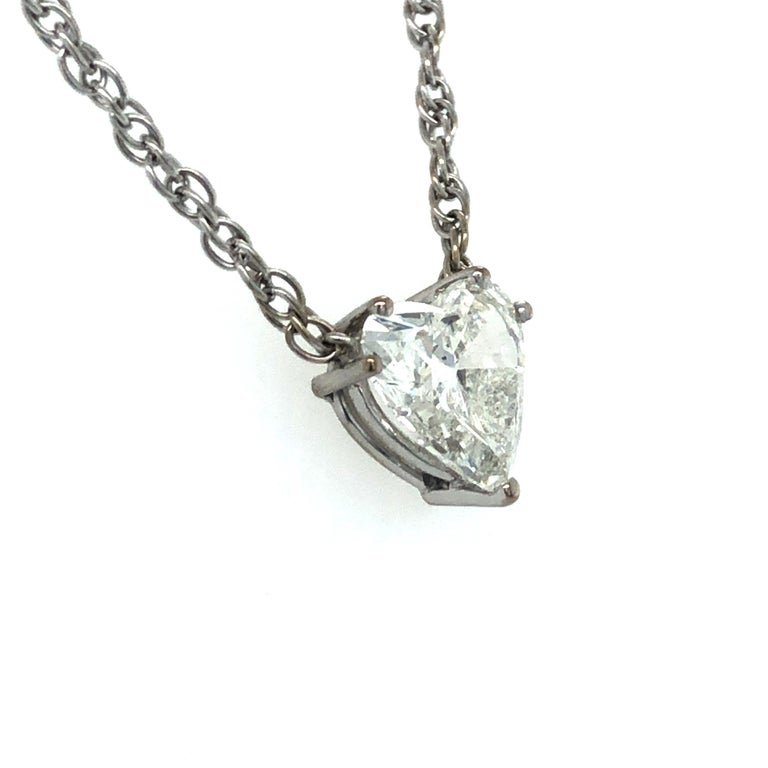 Contemporary GIA Certified 2.54 Carat Diamond Heart Necklace in 18 Karat White Gold For Sale