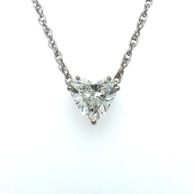 Women's or Men's GIA Certified 2.54 Carat Diamond Heart Necklace in 18 Karat White Gold For Sale