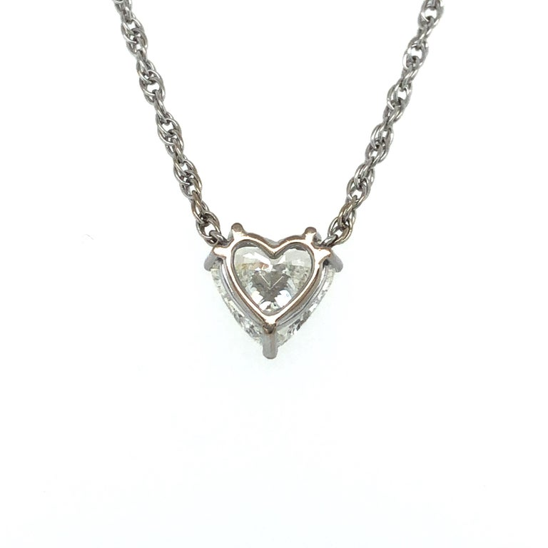 GIA Certified 2.54 Carat Diamond Heart Necklace in 18 Karat White Gold For Sale 2