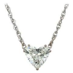 GIA Certified 2.54 Carat Diamond Heart Necklace in 18 Karat White Gold