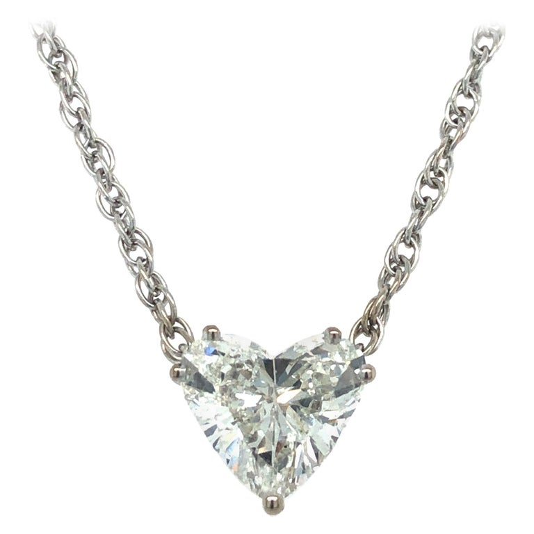 GIA Certified 2.54 Carat Diamond Heart Necklace in 18 Karat White Gold For Sale