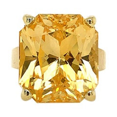 GIA Certified 25.40 Carat Yellow Sapphire Ring
