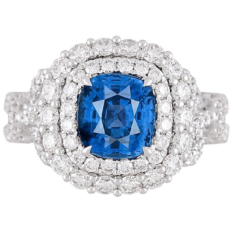 DiamondTown GIA Certified 2.55 Carat Cushion Cut Ceylon Sapphire Ring