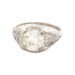 GIA Certified 2.55 Carat Diamond Art Deco Platinum Ring