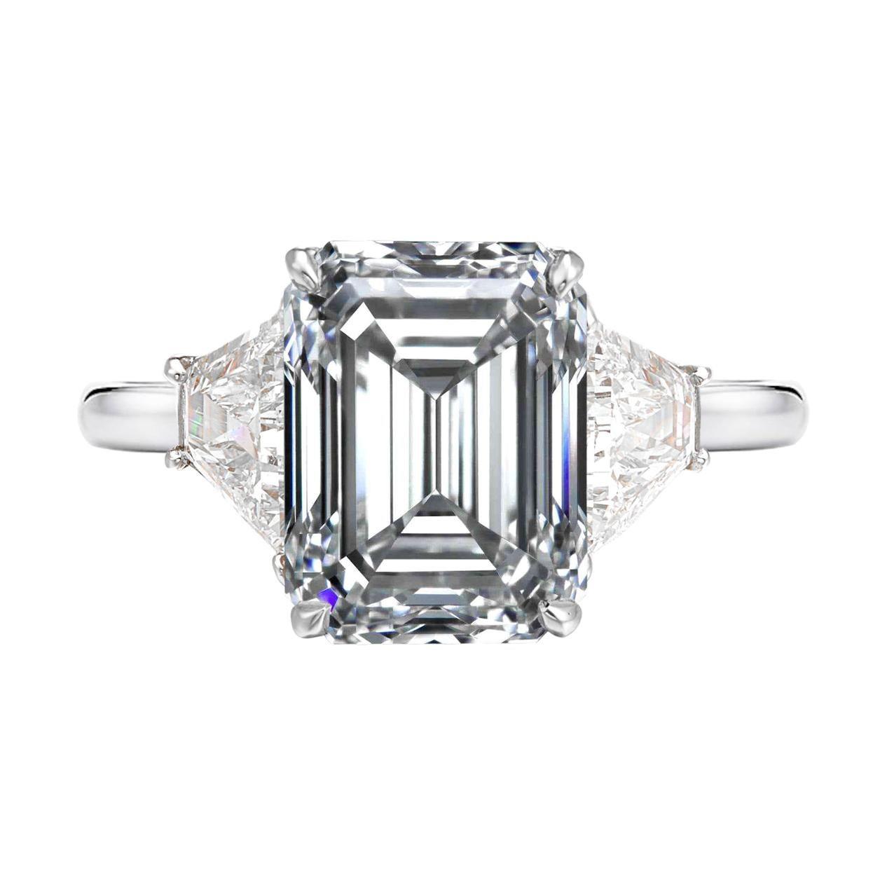 GIA Certified 2.65 Carat Emerald Cut Halfmoon Diamond Platinum Ring F VS1