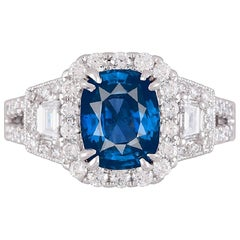 GIA Certified 2.56 Carat Cushion Cut Ceylon Sapphire and 0.87 Carat Diamond Ring