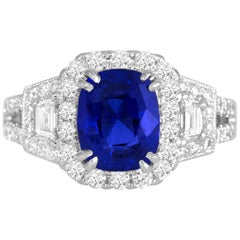 DiamondTown GIA Certified 2.56 Carat Cushion Cut Ceylon Sapphire Ring