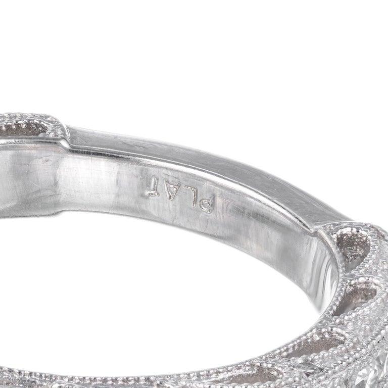 Square Cut GIA Certified 2.56 Carat Diamond Platinum Three-Stone Engagement Ring For Sale