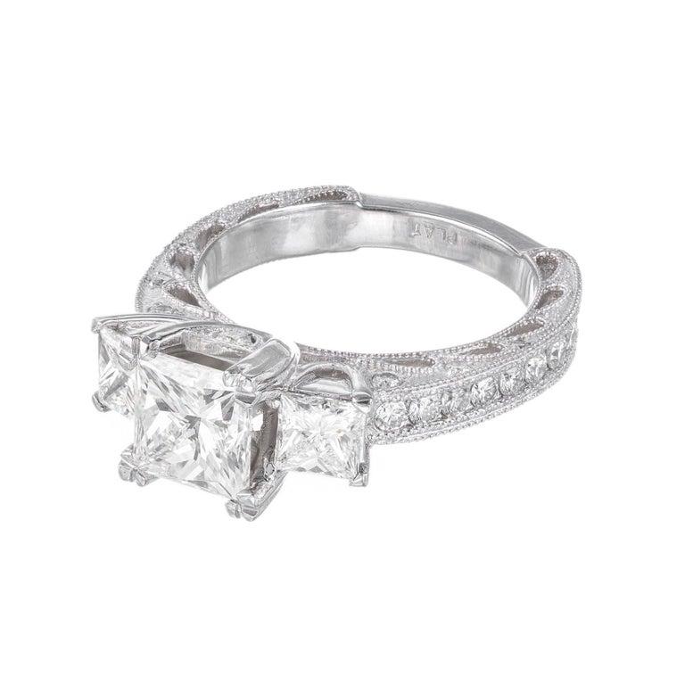 Women's GIA Certified 2.56 Carat Diamond Platinum Three-Stone Engagement Ring For Sale