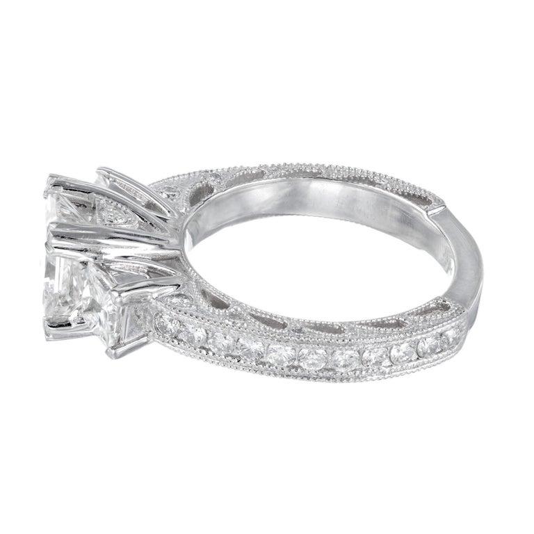 GIA Certified 2.56 Carat Diamond Platinum Three-Stone Engagement Ring For Sale 1