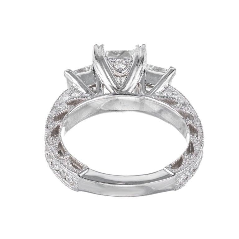 GIA Certified 2.56 Carat Diamond Platinum Three-Stone Engagement Ring For Sale 2