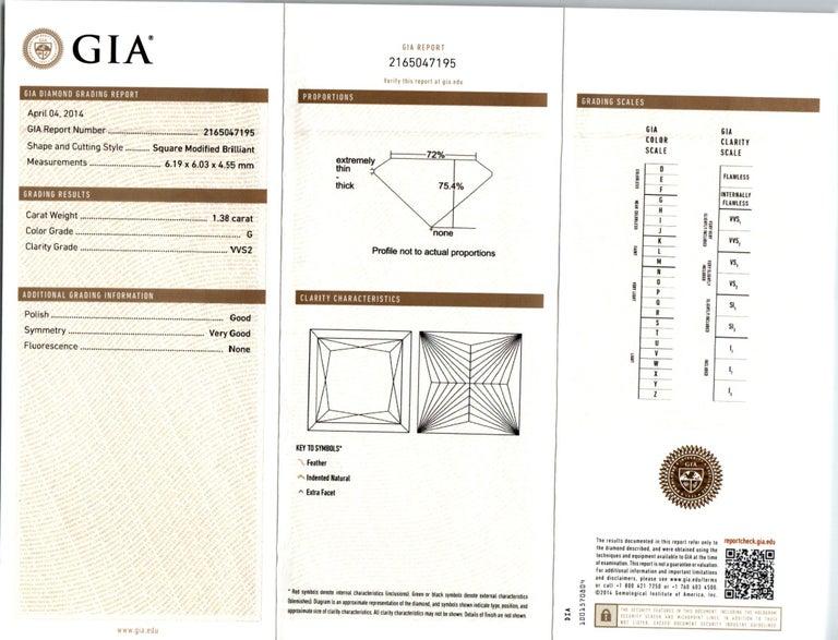 GIA Certified 2.56 Carat Diamond Platinum Three-Stone Engagement Ring For Sale 3
