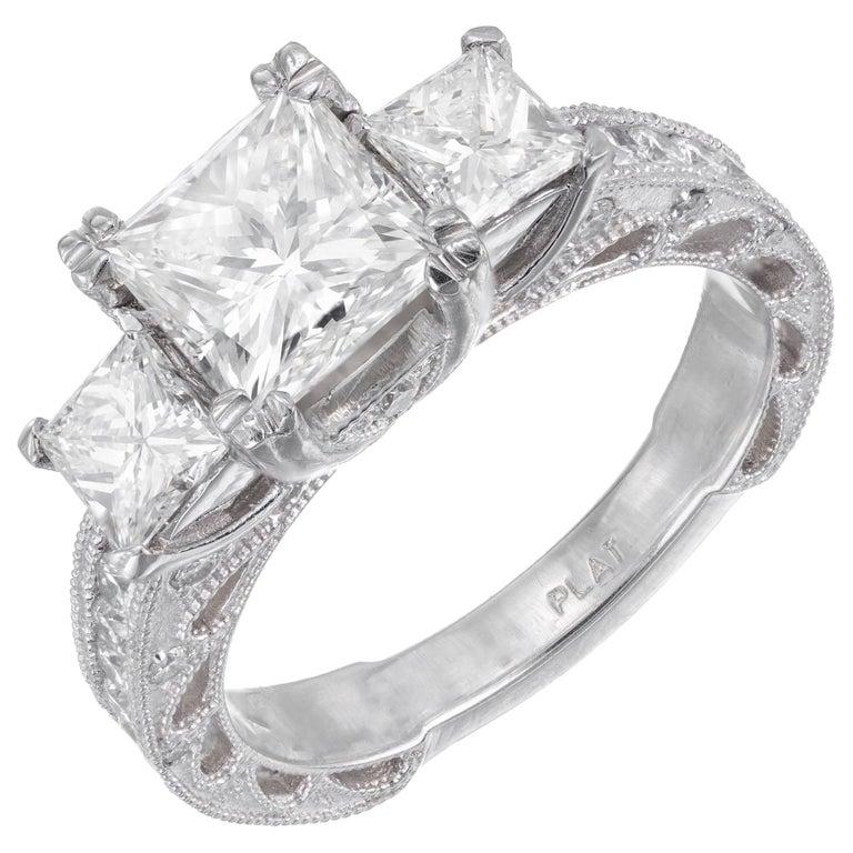 GIA Certified 2.56 Carat Diamond Platinum Three-Stone Engagement Ring For Sale