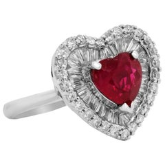 GIA Certified 2.57 Carat Burma Heart Shape Ruby Tapered Baguette Diamond Ring