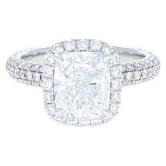 GIA Certified 2.57 Carat Cushion Modified Brilliant Cut Diamond Engagement Ring