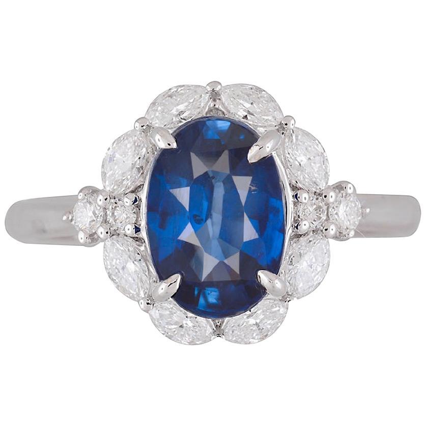 DiamondTown GIA Certified 2.57 Carat Oval Cut Ceylon Sapphire and Diamond Ring