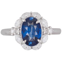 GIA Certified 2.57 Carat Oval Cut Ceylon Sapphire and Diamond Ring in 18K Gold