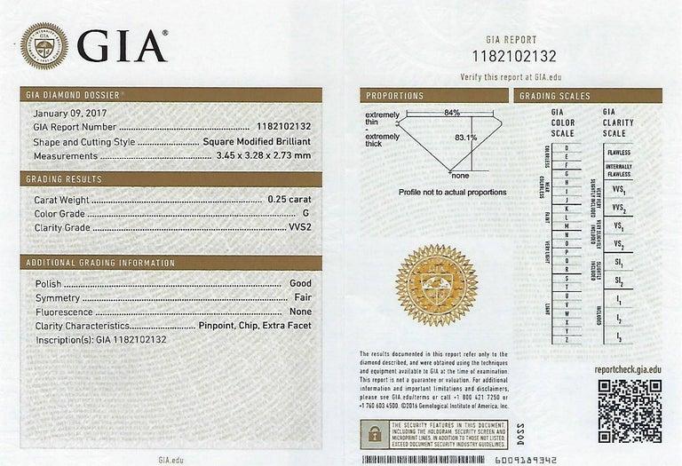 GIA Certified 2.57 Carat Princess Cut Diamond Five-Stone Platinum Ring For Sale 5