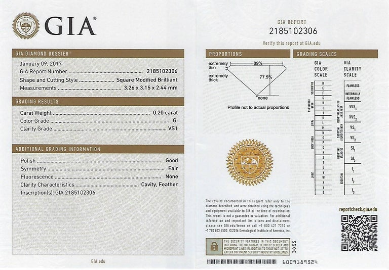 GIA Certified 2.57 Carat Princess Cut Diamond Five-Stone Platinum Ring For Sale 6