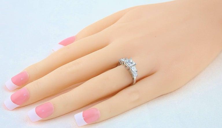 Contemporary GIA Certified 2.57 Carat Princess Cut Diamond Five-Stone Platinum Ring For Sale