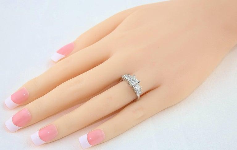 Women's GIA Certified 2.57 Carat Princess Cut Diamond Five-Stone Platinum Ring For Sale