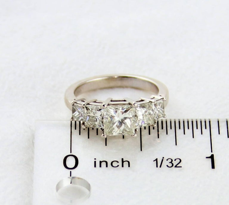 GIA Certified 2.57 Carat Princess Cut Diamond Five-Stone Platinum Ring For Sale 1