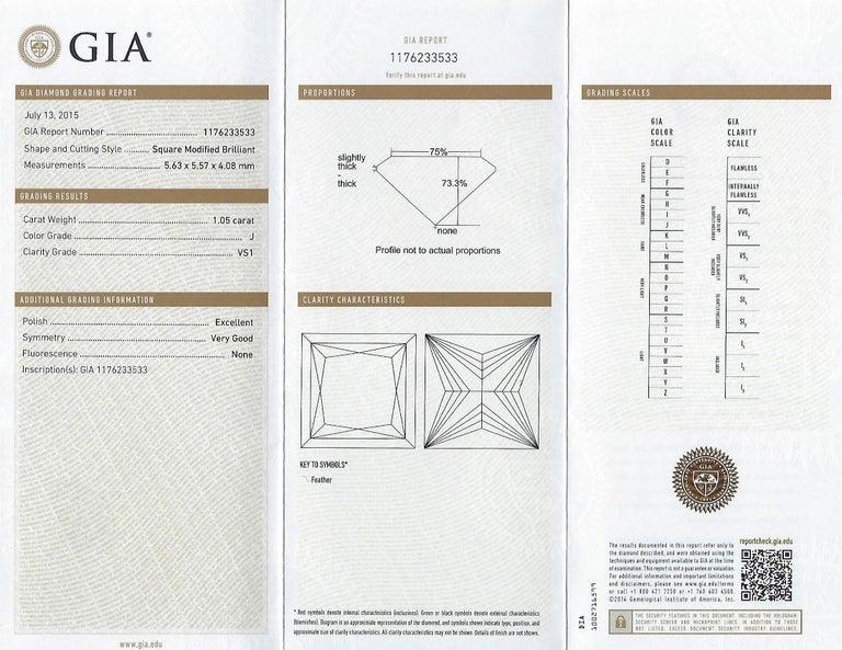 GIA Certified 2.57 Carat Princess Cut Diamond Five-Stone Platinum Ring For Sale 2